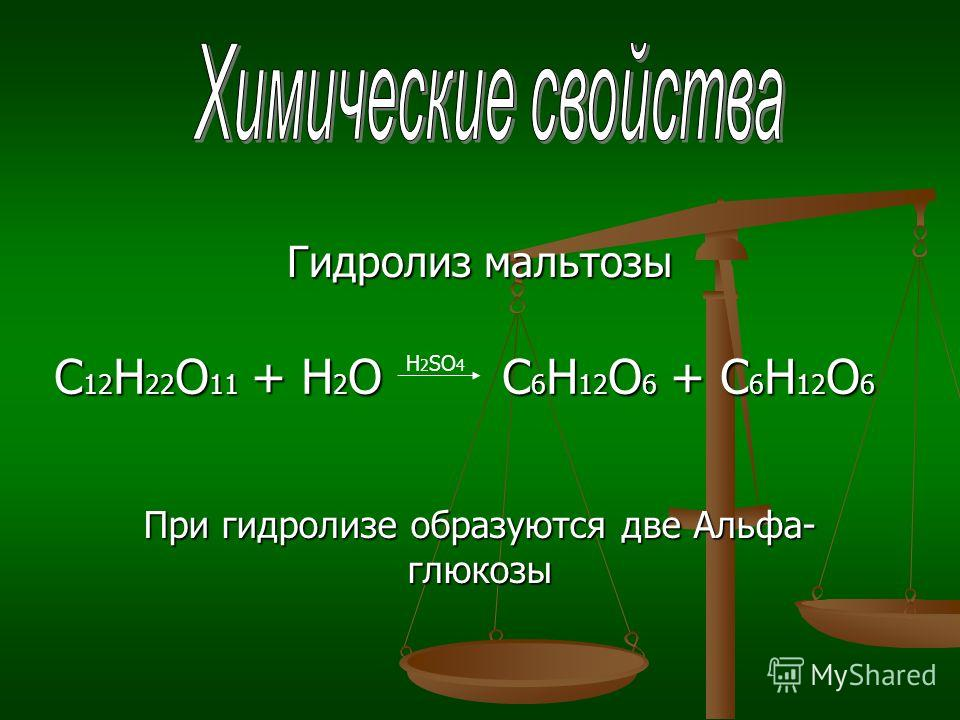 Гидролиз мальтозы С 12 Н 22 О 11 + Н 2 О C 6 Н 12 О 6 + C 6 Н 12 О 6 С 12 Н 22 О 11 + Н 2 О C 6 Н 12 О 6 + C 6 Н 12 О 6 H 2 SO 4 При гидролизе образуются две Альфа- глюкозы