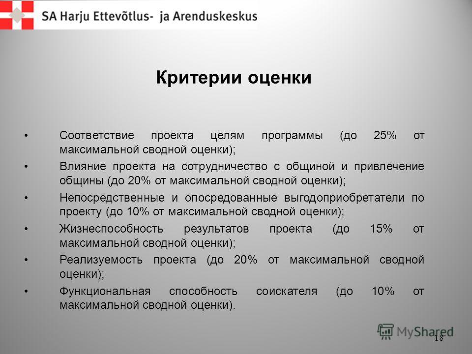 Критерии оценки 18 Соответствие проекта целям программы (до 25% от максимальной сводной оценки); Влияние проекта на сотрудничество с общиной и привлечение общины (до 20% от максимальной сводной оценки); Непосредственные и опосредованные выгодоприобре