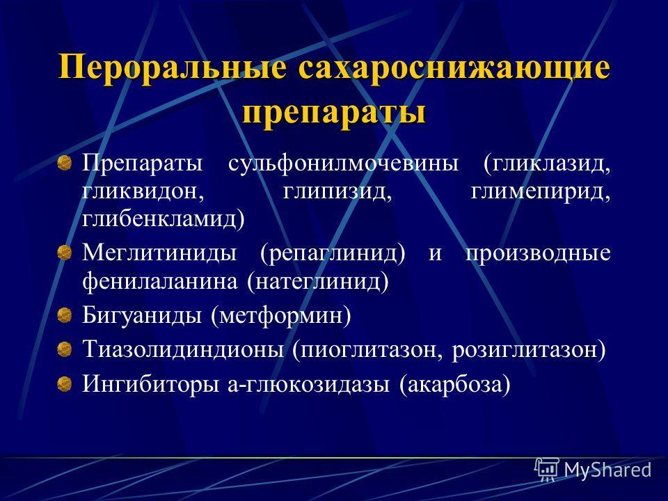 Пероральные сахароснижающие препараты Препараты сульфонилмочевины (гликлазид, гликвидон, глипизид, глимепирид, глибенкламид) Меглитиниды (репаглинид) и производные фенилаланина (натеглинид) Бигуаниды (метформин) Тиазолидиндионы (пиоглитазон, розиглит