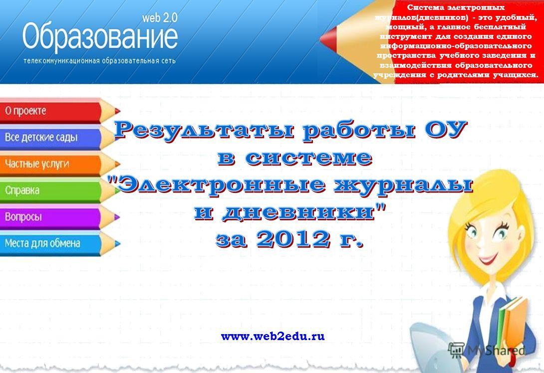 www.web2edu.ru Система электронных журналов(дневников) - это удобный, мощный, а главное бесплатный инструмент для создания единого информационно-образовательного пространства учебного заведения и взаимодействия образовательного учреждения с родителям