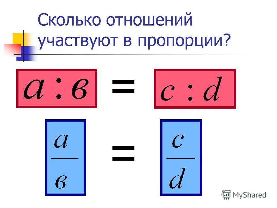 Сколько отношений участвуют в пропорции?