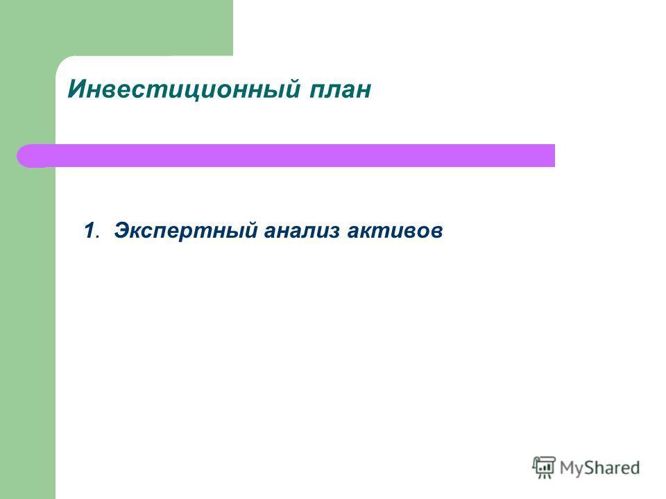 Инвестиционный план 1. Экспертный анализ активов