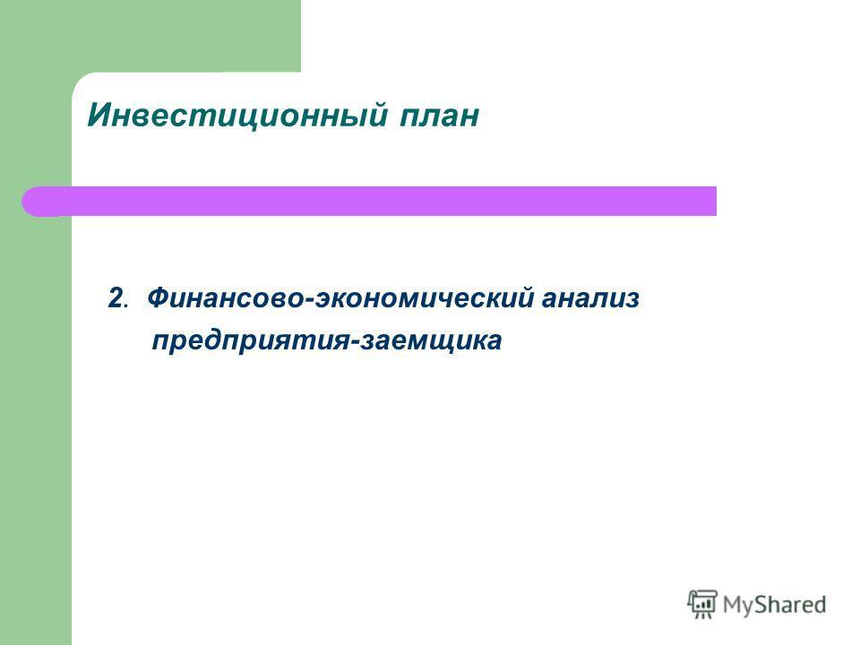 Инвестиционный план 2. Финансово-экономический анализ предприятия-заемщика