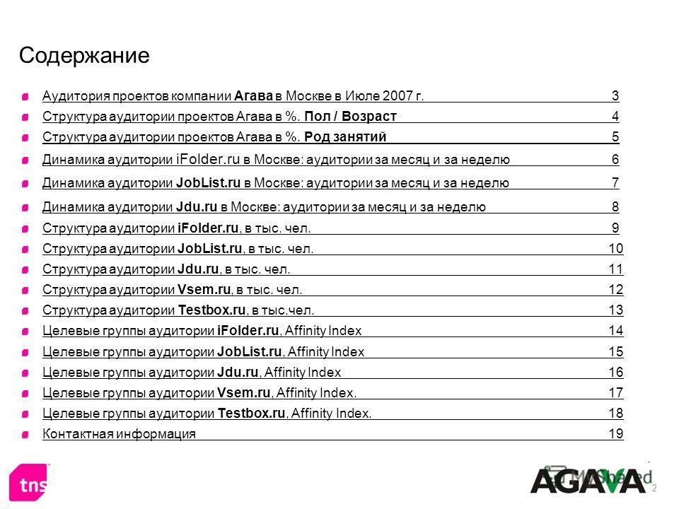 2 Содержание Аудитория проектов компании Агава в Москве в Июле 2007 г. 3 Структура аудитории проектов Агава в %. Пол / Возраст 4 Структура аудитории проектов Агава в %. Род занятий 5 Динамика аудитории iFolder.ru в Москве: аудитории за месяц и за нед