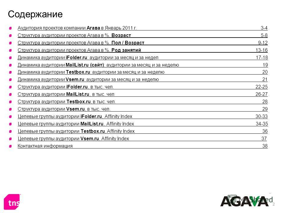 2 Содержание Аудитория проектов компании Агава в Январь 2011 г. 3-4 Структура аудитории проектов Агава в %. Возраст 5-8 Структура аудитории проектов Агава в %. Пол / Возраст 9-12 Структура аудитории проектов Агава в %. Род занятий 13-16 Динамика ауди