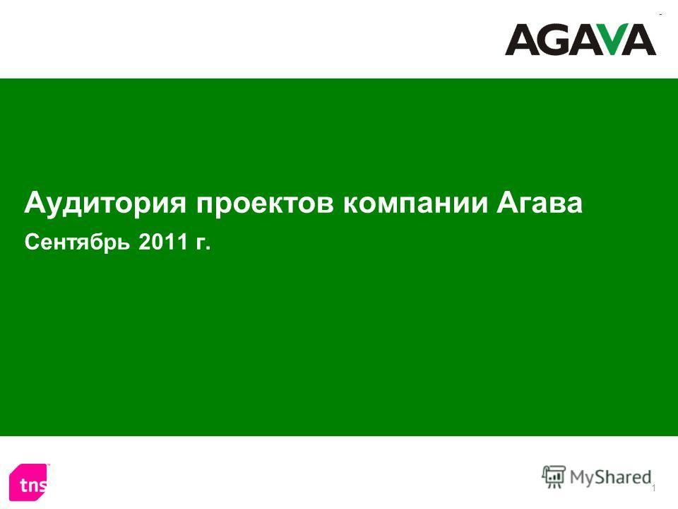 1 Аудитория проектов компании Агава Сентябрь 2011 г.