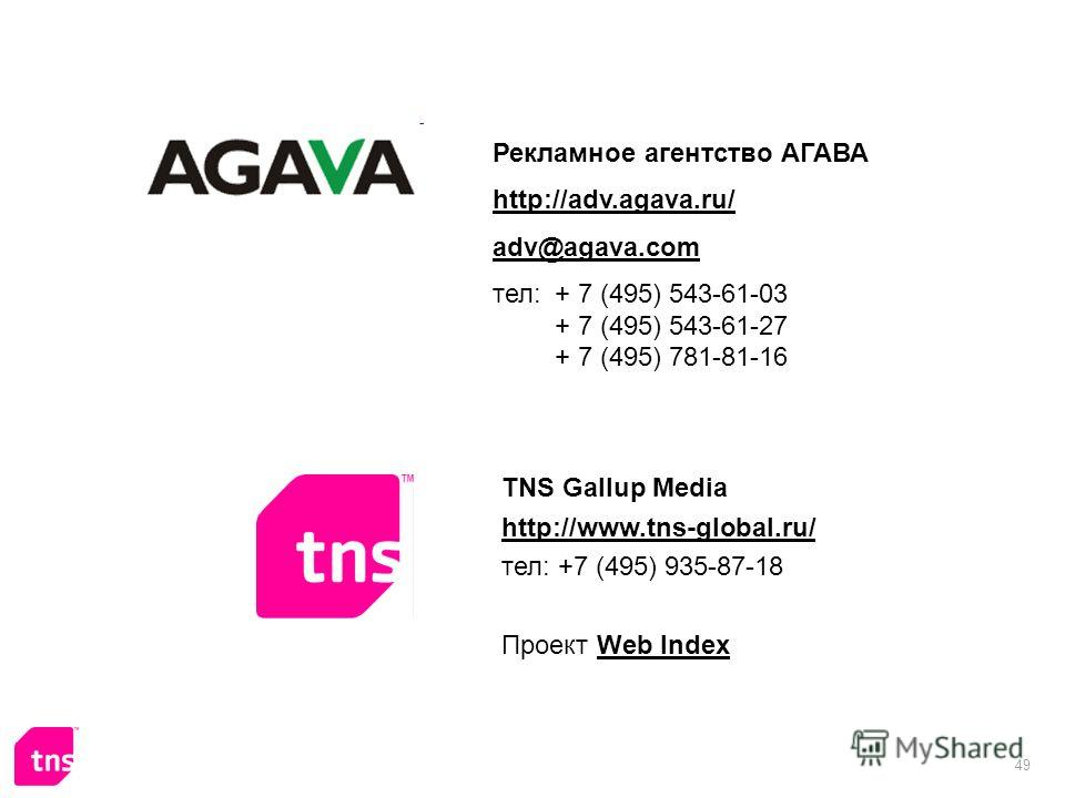 49 Рекламное агентство АГАВА http://adv.agava.ru/ adv@agava.com тел: + 7 (495) 543-61-03 + 7 (495) 543-61-27 + 7 (495) 781-81-16 TNS Gallup Media http://www.tns-global.ru/ тел: +7 (495) 935-87-18 Проект Web IndexWeb Index