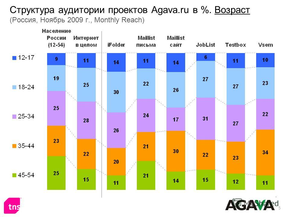 5 Структура аудитории проектов Agava.ru в %. Возраст (Россия, Ноябрь 2009 г., Monthly Reach)