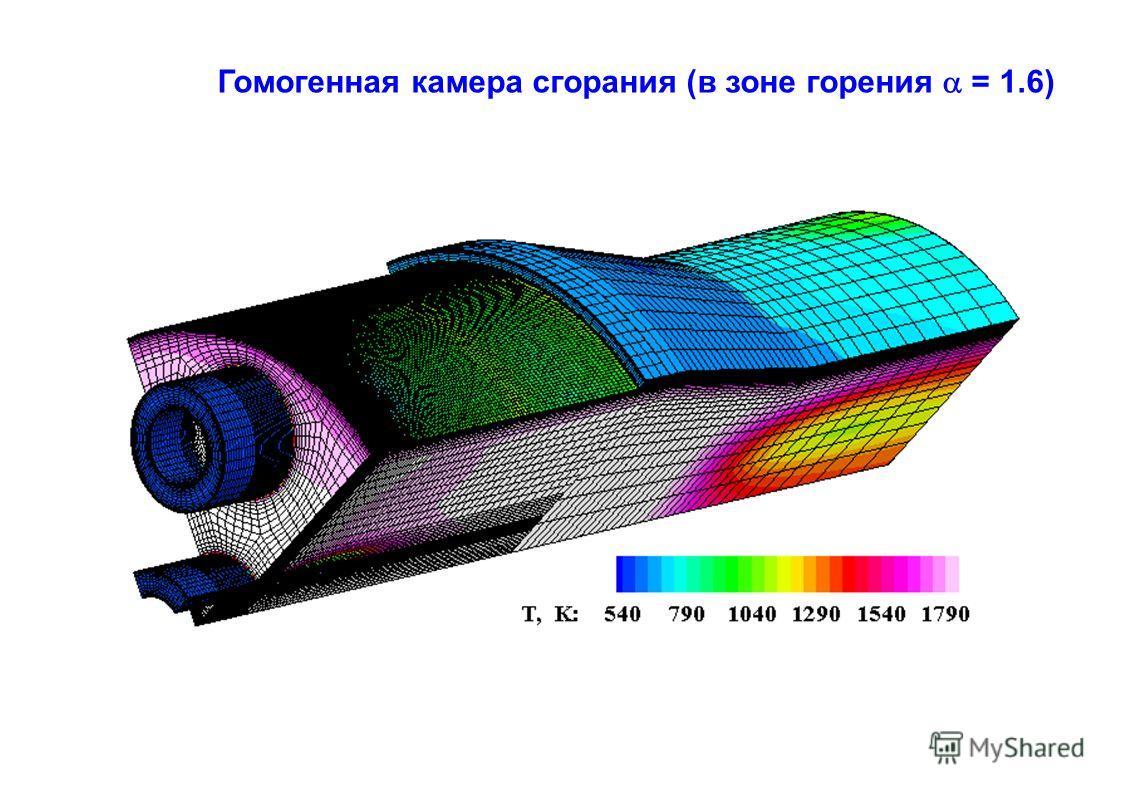 Гомогенная камера сгорания (в зоне горения = 1.6)