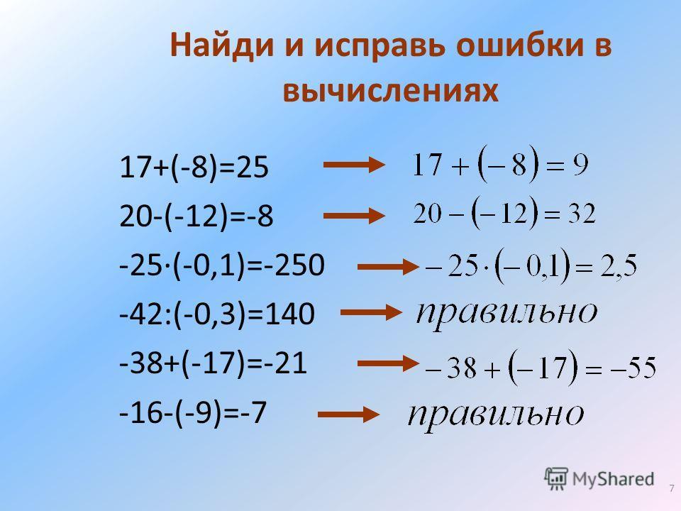 7 Найди и исправь ошибки в вычислениях 17+(-8)=25 20-(-12)=-8 -25(-0,1)=-250 -42:(-0,3)=140 -38+(-17)=-21 -16-(-9)=-7