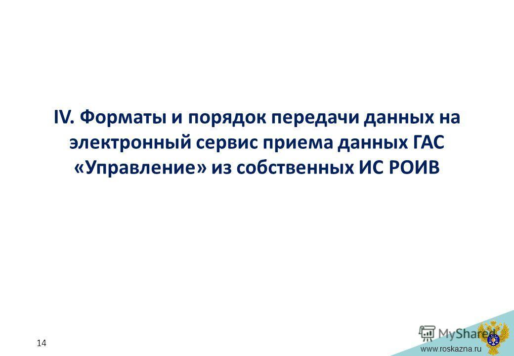 www.roskazna.ru IV. Форматы и порядок передачи данных на электронный сервис приема данных ГАС «Управление» из собственных ИС РОИВ 14