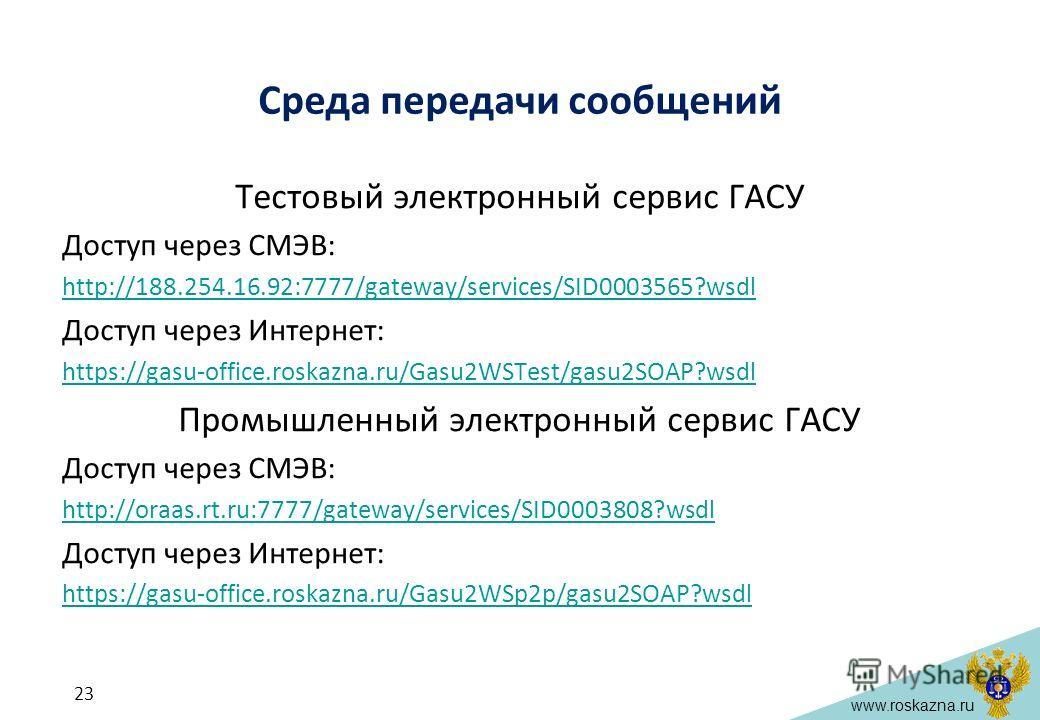 www.roskazna.ru Среда передачи сообщений Тестовый электронный сервис ГАСУ Доступ через СМЭВ: http://188.254.16.92:7777/gateway/services/SID0003565?wsdl Доступ через Интернет: https://gasu-office.roskazna.ru/Gasu2WSTest/gasu2SOAP?wsdl Промышленный эле