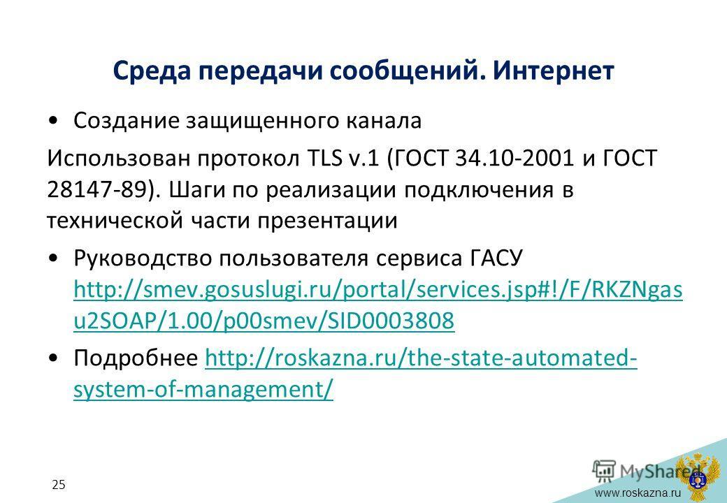 www.roskazna.ru Среда передачи сообщений. Интернет Создание защищенного канала Использован протокол TLS v.1 (ГОСТ 34.10-2001 и ГОСТ 28147-89). Шаги по реализации подключения в технической части презентации Руководство пользователя сервиса ГАСУ http:/