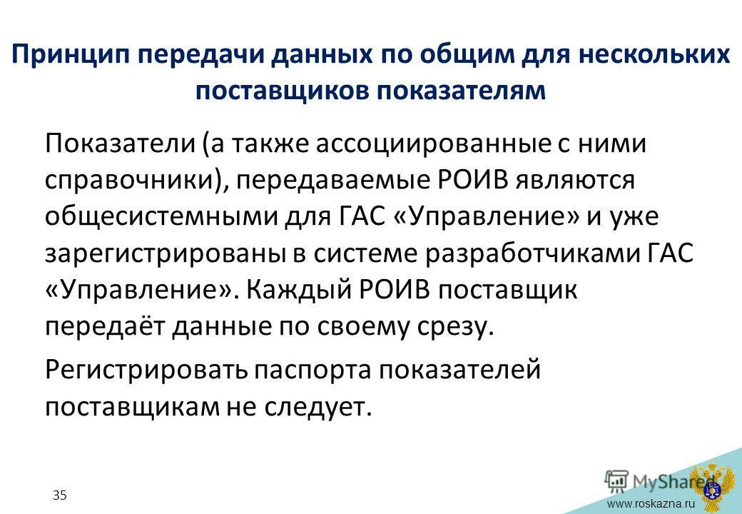 www.roskazna.ru Принцип передачи данных по общим для нескольких поставщиков показателям Показатели (а также ассоциированные с ними справочники), передаваемые РОИВ являются общесистемными для ГАС «Управление» и уже зарегистрированы в системе разработч