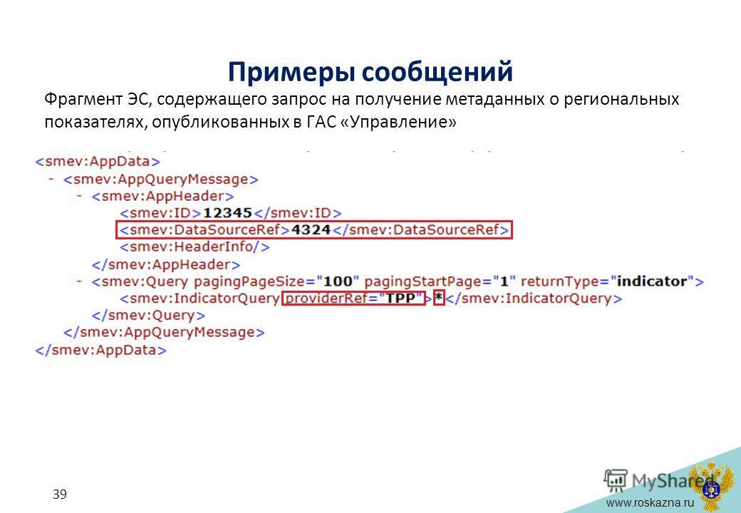 www.roskazna.ru Фрагмент ЭС, содержащего запрос на получение метаданных о региональных показателях, опубликованных в ГАС «Управление» Примеры сообщений 39