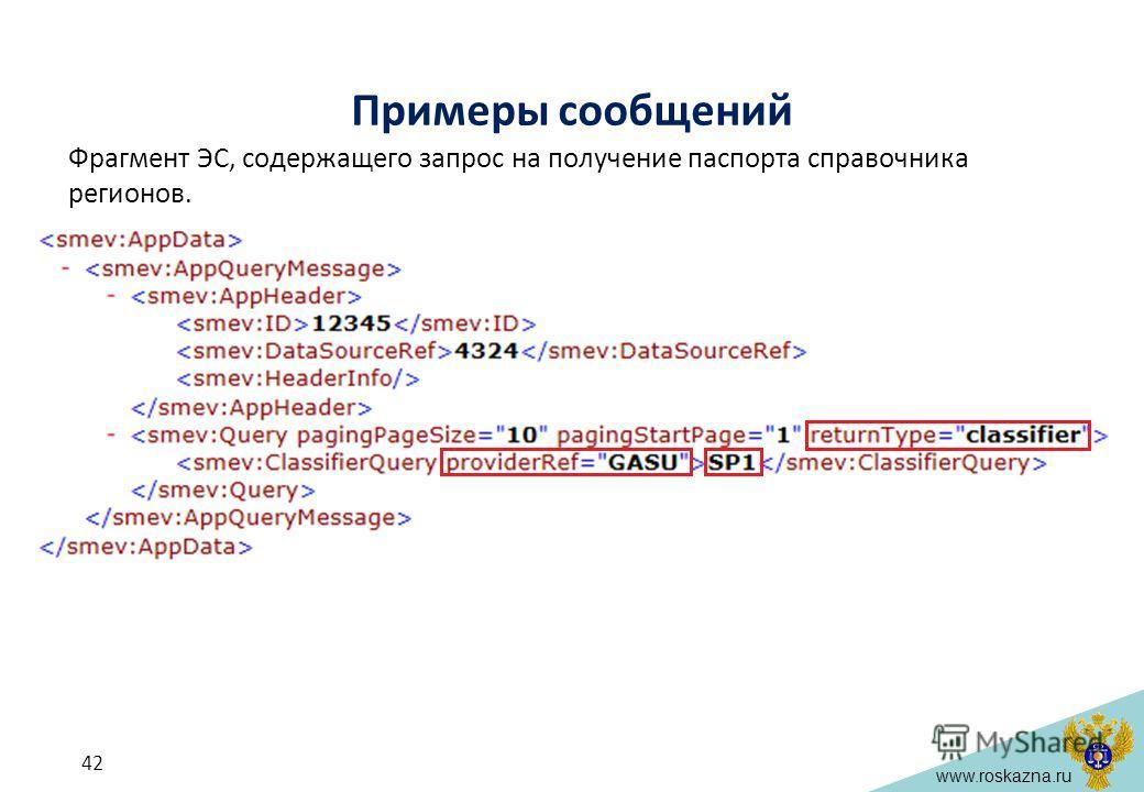 www.roskazna.ru Примеры сообщений Фрагмент ЭС, содержащего запрос на получение паспорта справочника регионов. 42