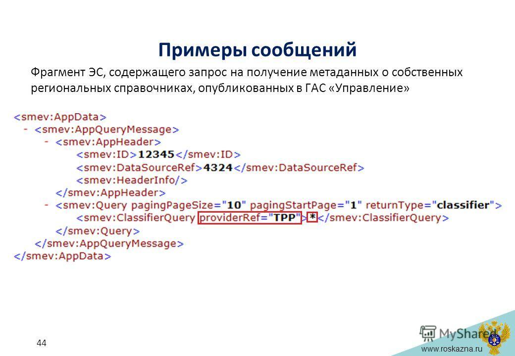 www.roskazna.ru Примеры сообщений Фрагмент ЭС, содержащего запрос на получение метаданных о собственных региональных справочниках, опубликованных в ГАС «Управление» 44