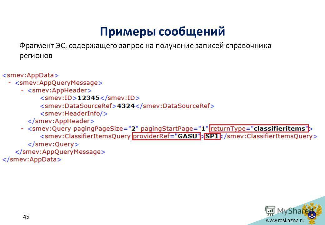 www.roskazna.ru Примеры сообщений Фрагмент ЭС, содержащего запрос на получение записей справочника регионов 45
