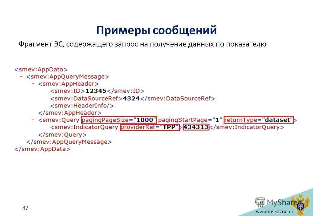 www.roskazna.ru Примеры сообщений Фрагмент ЭС, содержащего запрос на получение данных по показателю 47