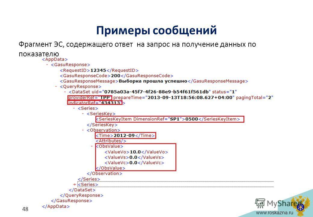 www.roskazna.ru Примеры сообщений Фрагмент ЭС, содержащего ответ на запрос на получение данных по показателю 48