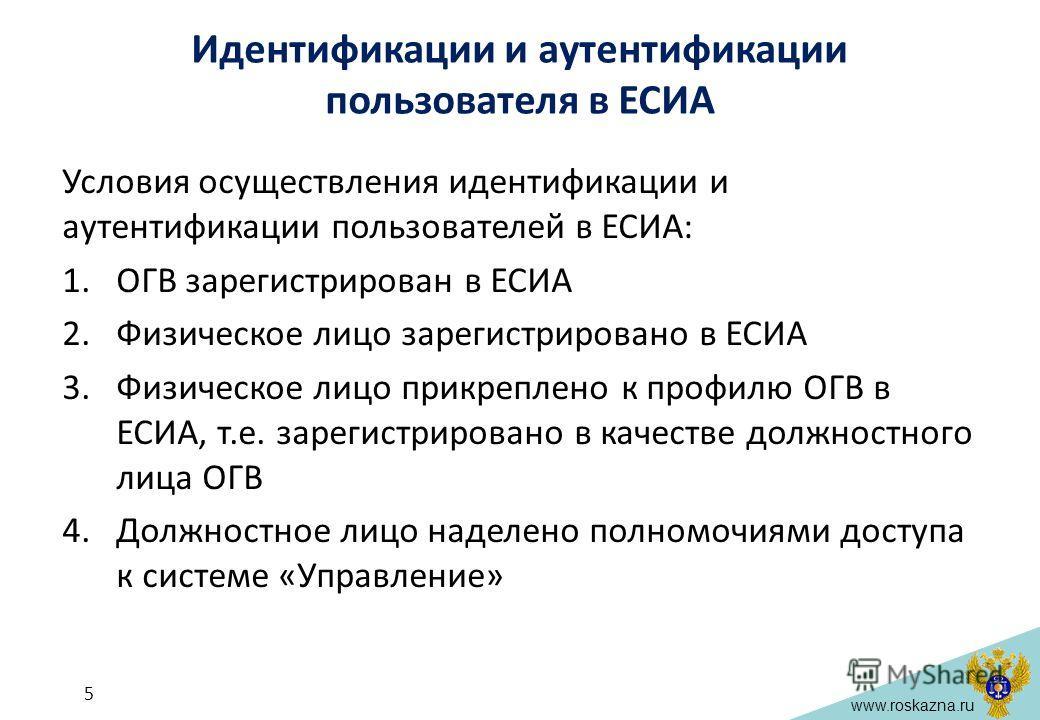 www.roskazna.ru Идентификации и аутентификации пользователя в ЕСИА Условия осуществления идентификации и аутентификации пользователей в ЕСИА: 1.ОГВ зарегистрирован в ЕСИА 2.Физическое лицо зарегистрировано в ЕСИА 3.Физическое лицо прикреплено к профи