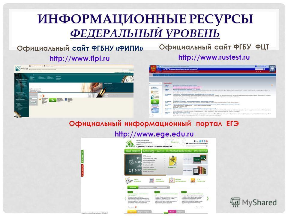 Официальный информационный портал ЕГЭ http://www.ege.edu.ru Официальный сайт ФГБНУ «ФИПИ» http://www.fipi.ru Официальный сайт ФГБУ ФЦТ http://www.rustest.ru ИНФОРМАЦИОННЫЕ РЕСУРСЫ ФЕДЕРАЛЬНЫЙ УРОВЕНЬ