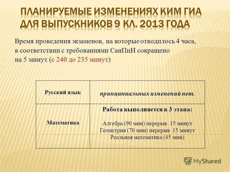 Время проведения экзаменов, на которые отводилось 4 часа, в соответствии с требованиями СанПиН сокращено на 5 минут (с 240 до 235 минут) Русский язык принципиальных изменений нет. Математика Работа выполняется в 3 этапа: Алгебра (90 мин) перерыв 15 м