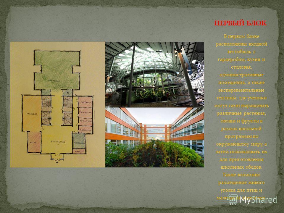 В первом блоке расположены входной вестибюль с гардеробом, кухня и столовая, административные помещения, а также экспериментальные теплицы, где ученики могут сами выращивать различные растения, овощи и фрукты в рамках школьной программы по окружающем