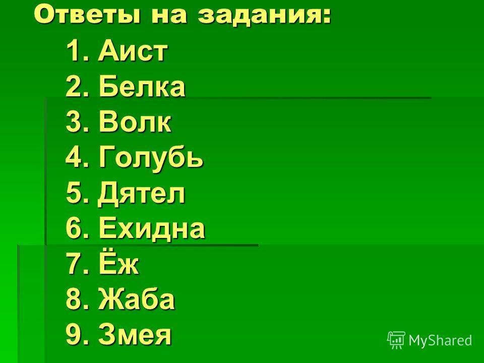 Ответы на задания: 1. Аист 2. Белка 3. Волк 4. Голубь 5. Дятел 6. Ехидна 7. Ёж 8. Жаба 9. Змея
