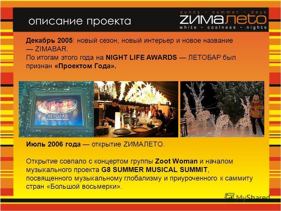 Декабрь 2005: новый сезон, новый интерьер и новое название ZIMABAR. По итогам этого года на NIGHT LIFE AWARDS ЛЕТОБАР был признан «Проектом Года». Июль 2006 года открытие ZИМАЛETO. Открытие совпало с концертом группы Zoot Woman и началом музыкального