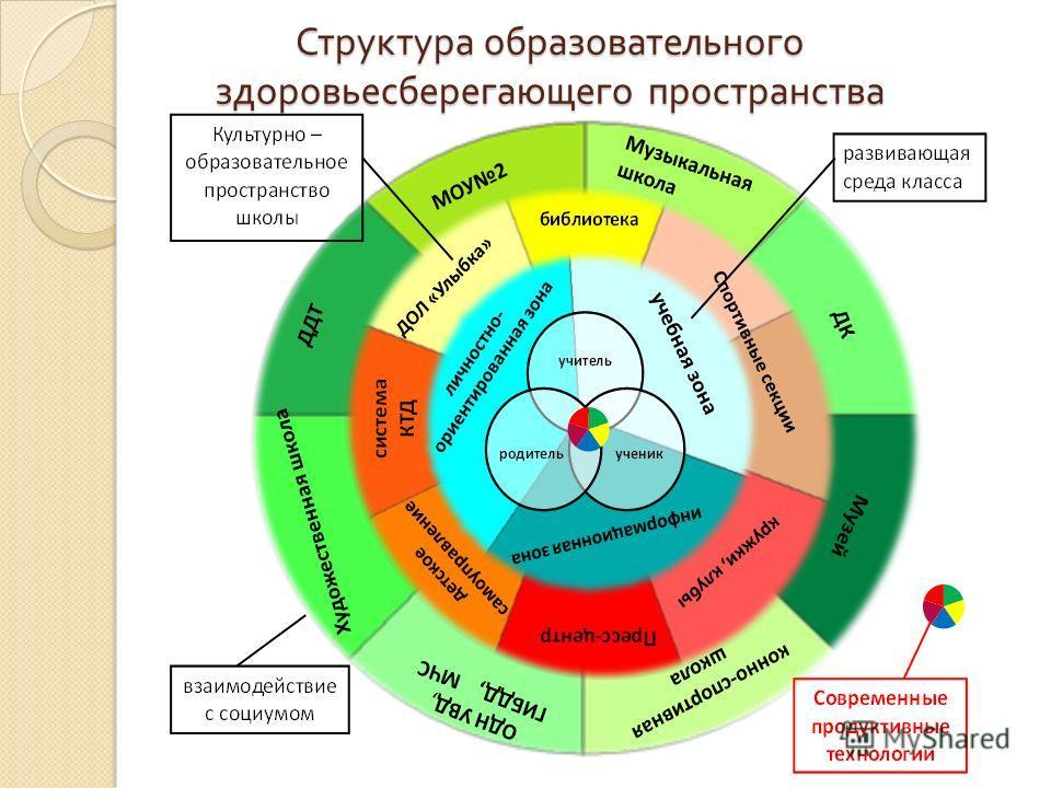 Структура образовательного здоровьесберегающего пространства