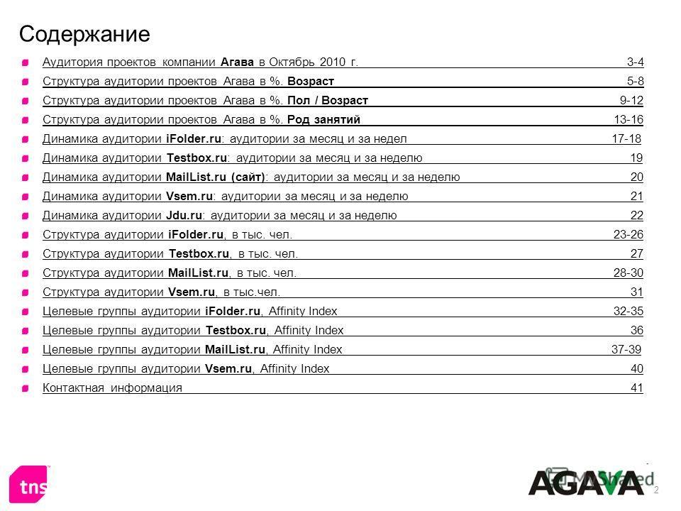 2 Содержание Аудитория проектов компании Агава в Октябрь 2010 г. 3-4 Структура аудитории проектов Агава в %. Возраст 5-8 Структура аудитории проектов Агава в %. Пол / Возраст 9-12 Структура аудитории проектов Агава в %. Род занятий 13-16 Динамика ауд