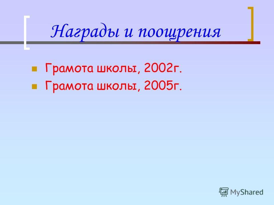 Награды и поощрения Грамота школы, 2002г. Грамота школы, 2005г.