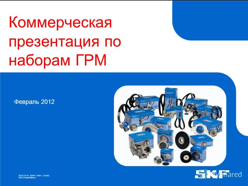 2013-12-19 ©SKFSlide 1 [Code] SKF [Organisation] Коммерческая презентация по наборам ГРМ Февраль 2012