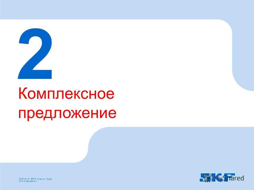 2013-12-19 ©SKFSlide 13 [Code] SKF [Organisation] 2 Комплексное предложение 2013-12-19 ©SKF Slide 13 [Code] SKF [Organisation]