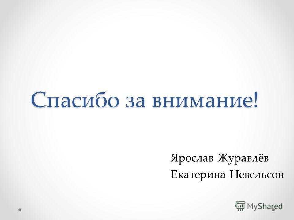 Спасибо за внимание! Ярослав Журавлёв Екатерина Невельсон