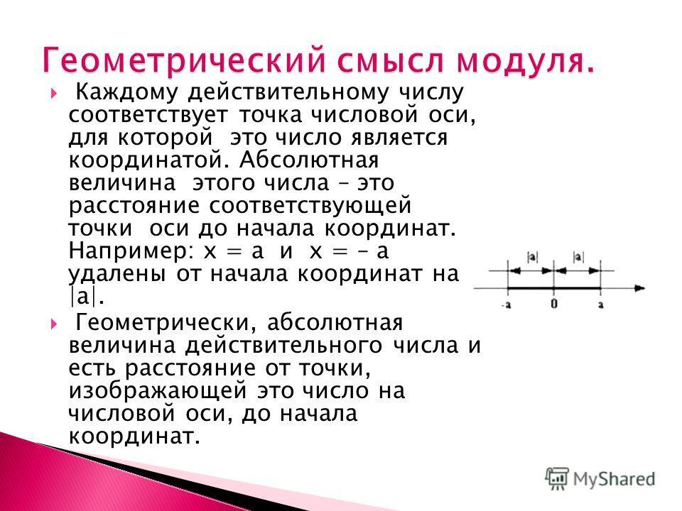 Каждому действительному числу соответствует точка числовой оси, для которой это число является координатой. Абсолютная величина этого числа – это расстояние соответствующей точки оси до начала координат. Например: х = а и х = – а удалены от начала ко