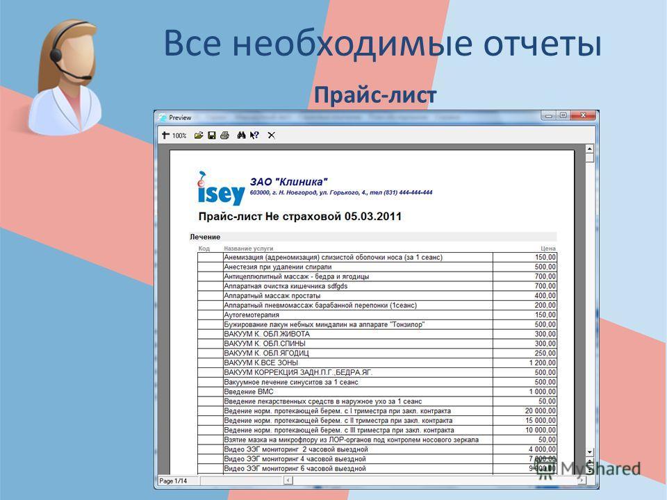 Все необходимые отчеты Прайс-лист