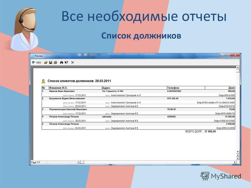 Все необходимые отчеты Список должников