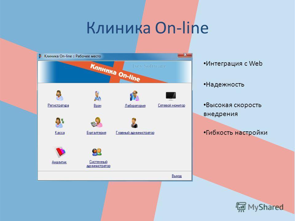 Клиника On-line Гибкость настройки Высокая скорость внедрения Надежность Интеграция с Web