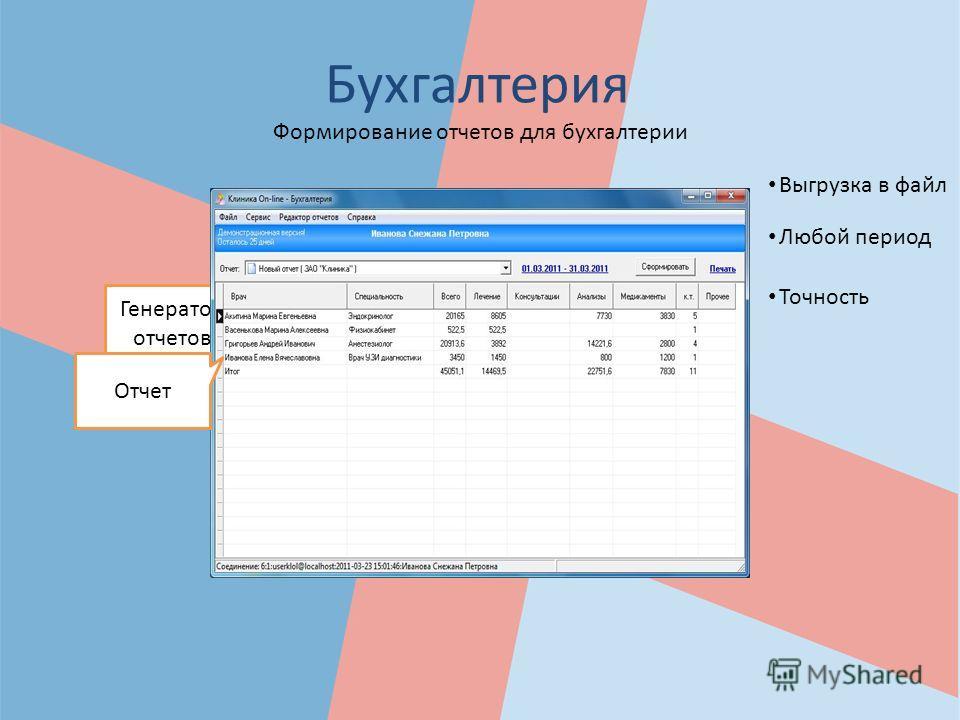 Бухгалтерия Выгрузка в файл Формирование отчетов для бухгалтерии Точность Любой период Генератор отчетов Отчет