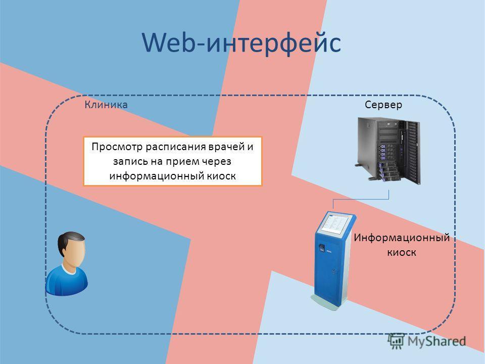 Web-интерфейс Просмотр расписания врачей и запись на прием через информационный киоск КлиникаСервер Информационный киоск