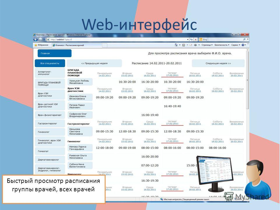 Web-интерфейс Быстрый просмотр расписания группы врачей, всех врачей