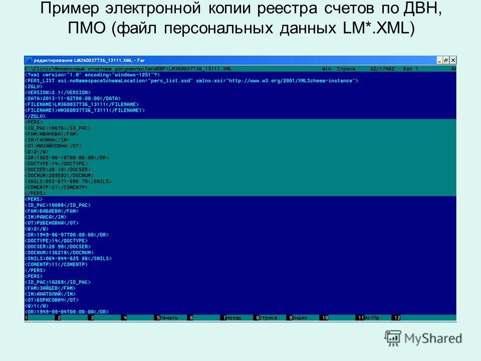 Пример электронной копии реестра счетов по ДВН, ПМО (файл персональных данных LM*.XML)