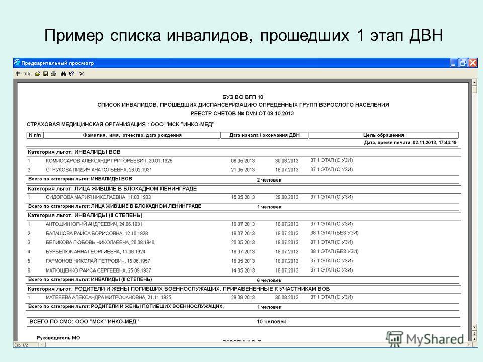Пример списка инвалидов, прошедших 1 этап ДВН