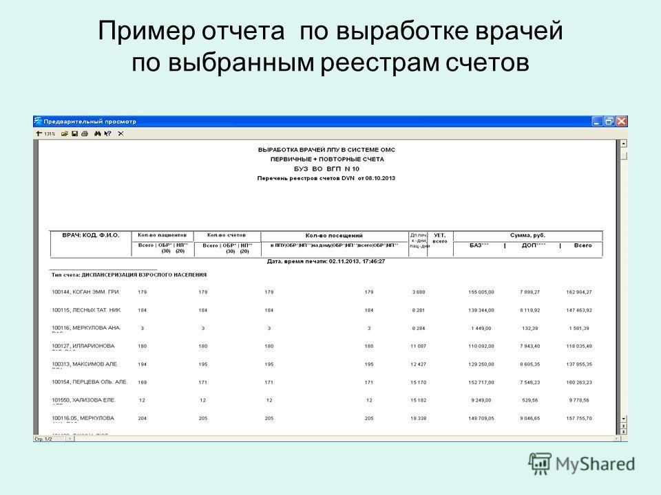 Пример отчета по выработке врачей по выбранным реестрам счетов