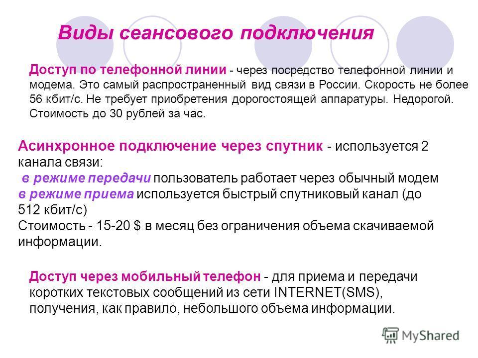 Виды сеансового подключения Доступ по телефонной линии - через посредство телефонной линии и модема. Это самый распространенный вид связи в России. Скорость не более 56 кбит/с. Не требует приобретения дорогостоящей аппаратуры. Недорогой. Стоимость до