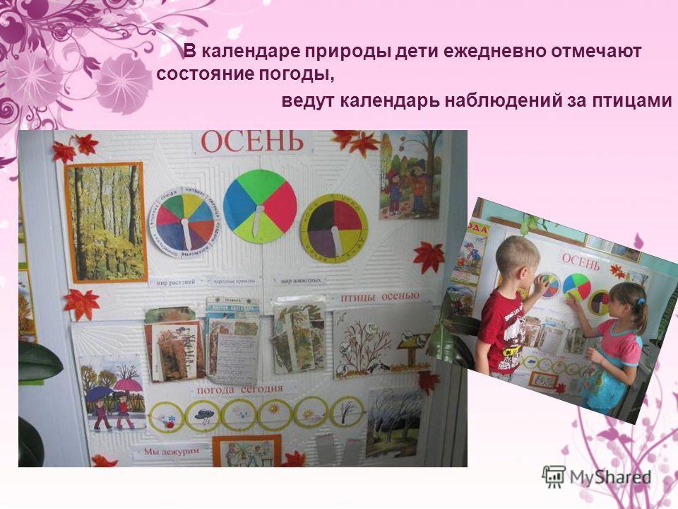 В календаре природы дети ежедневно отмечают состояние погоды, ведут календарь наблюдений за птицами