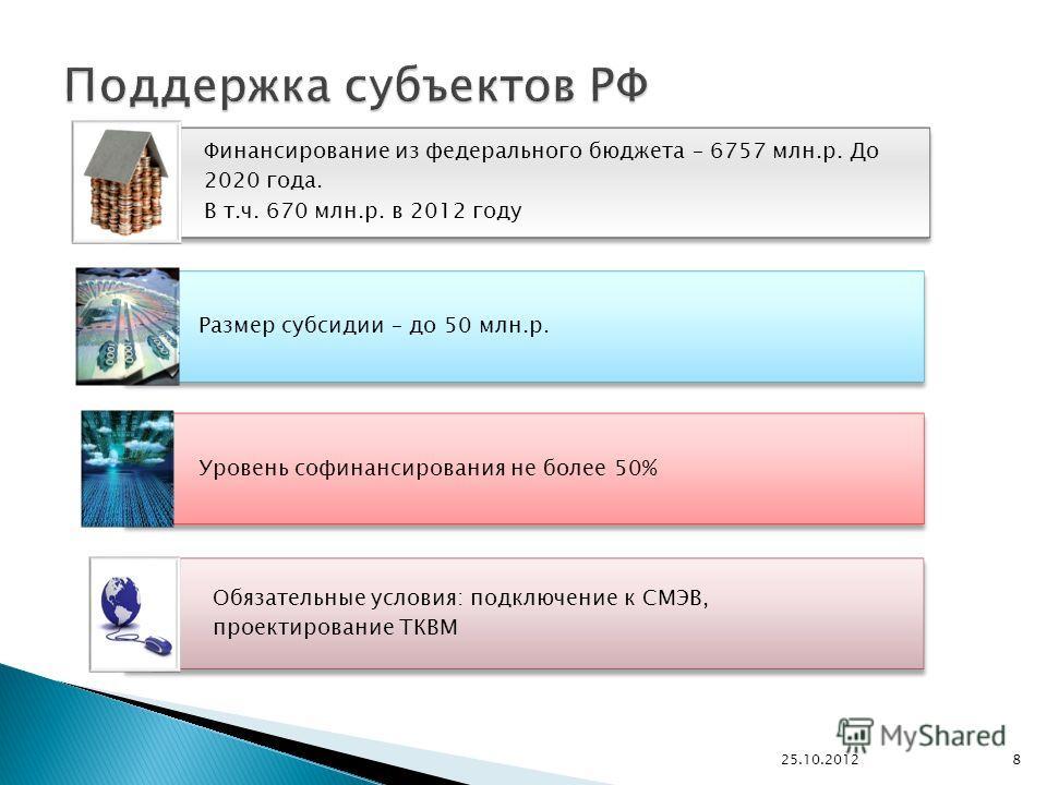 Финансирование из федерального бюджета – 6757 млн.р. До 2020 года. В т.ч. 670 млн.р. в 2012 году Размер субсидии – до 50 млн.р. Уровень софинансирования не более 50% Обязательные условия: подключение к СМЭВ, проектирование ТКВМ 25.10.2012 8