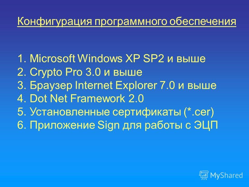 Конфигурация программного обеспечения 1. Microsoft Windows XP SP2 и выше 2. Crypto Pro 3.0 и выше 3. Браузер Internet Explorer 7.0 и выше 4. Dot Net Framework 2.0 5. Установленные сертификаты (*.cer) 6. Приложение Sign для работы с ЭЦП
